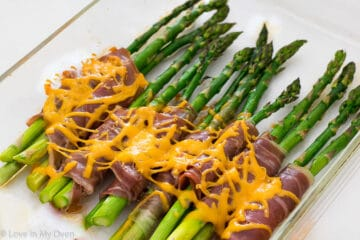 proscitto wrapped asparagus bundles
