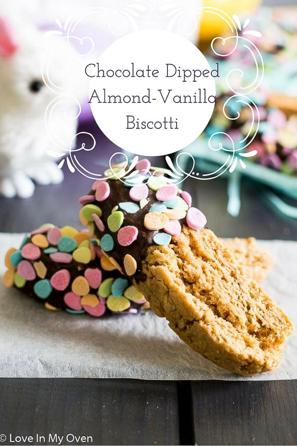 chocolate dipped almond-vanilla biscotti