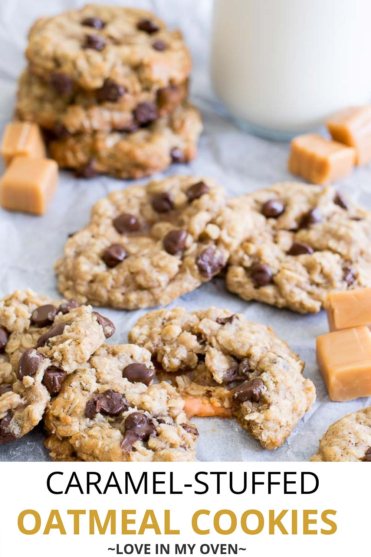 Oatmeal Caramel Stuffed Cookies