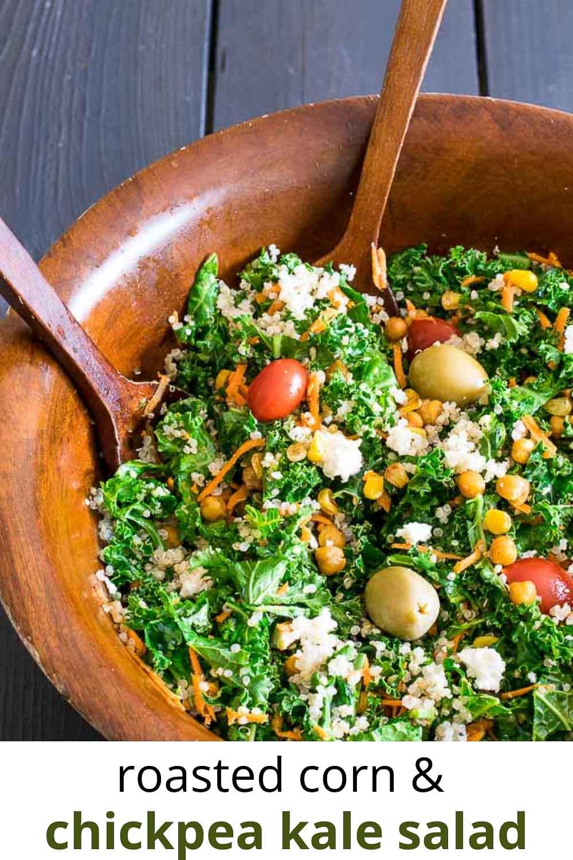 Roasted Corn and Chickpea Kale Salad