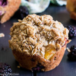 blackberry-peach streusel muffins