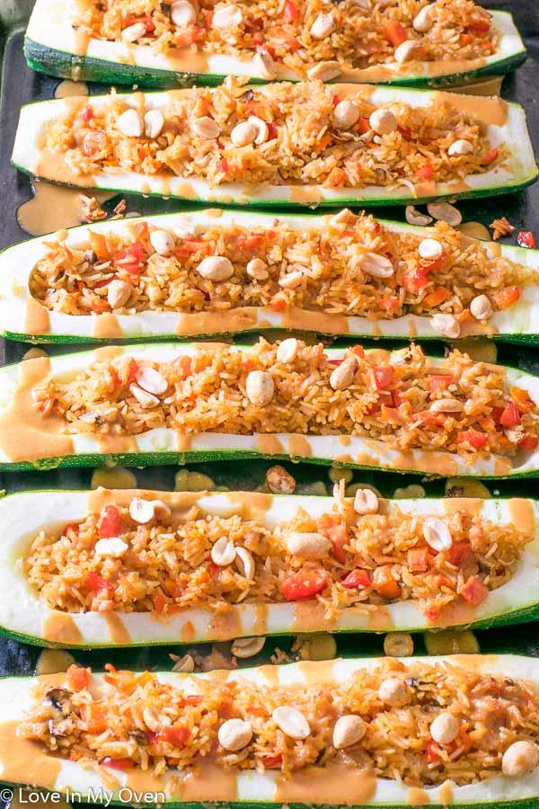 Red Thai Zucchini Boats