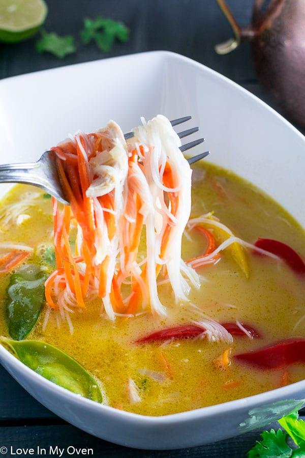 spicy thai chicken noodle soup