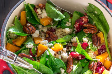 roasted butternut squash salad with cranberries