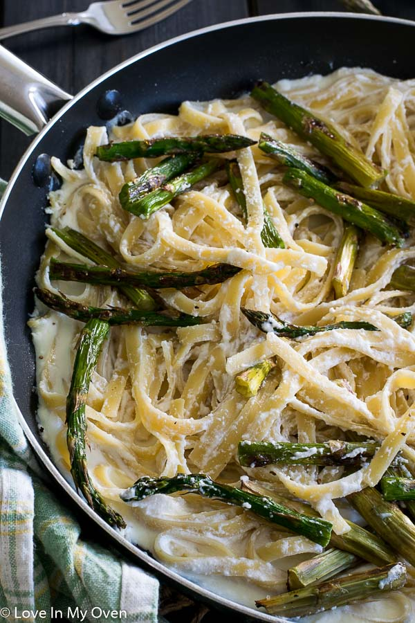 Roasted Asparagus and Ricotta Fettuccine