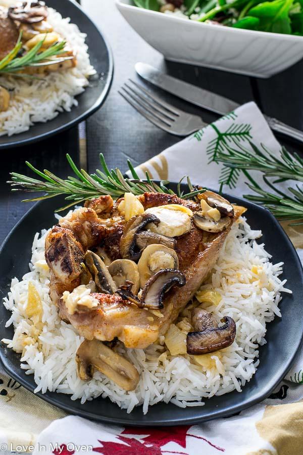 One Pan Porkchops n Mushrooms