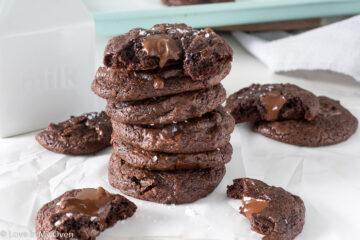 salted chewy brownie cookies