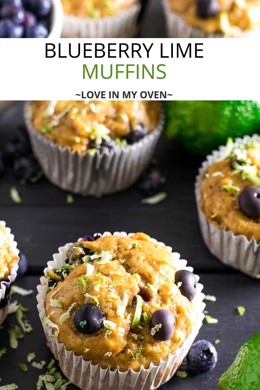 Greek Yogurt Blueberry Lime Muffins
