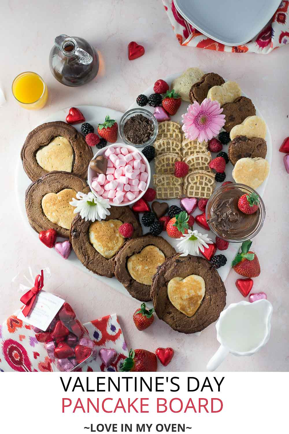 Double Chocolate Heart Shaped Pancakes